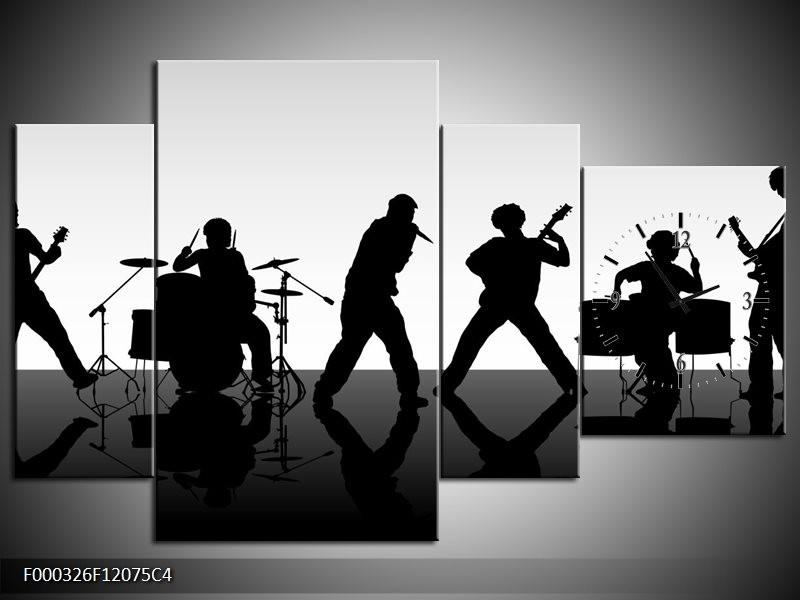 Klok schilderij Muziek | Zwart, Grijs, Wit | 120x75cm 4Luik