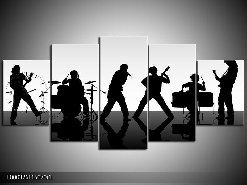 Klok schilderij Muziek | Zwart, Grijs, Wit | 150x70cm 5Luik