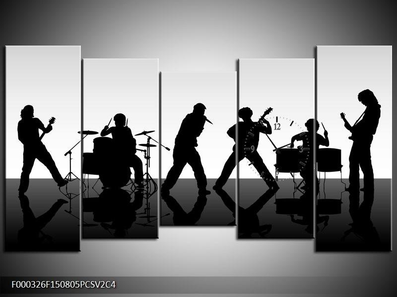Klok schilderij Muziek | Zwart, Grijs, Wit | 150x80cm 5Luik
