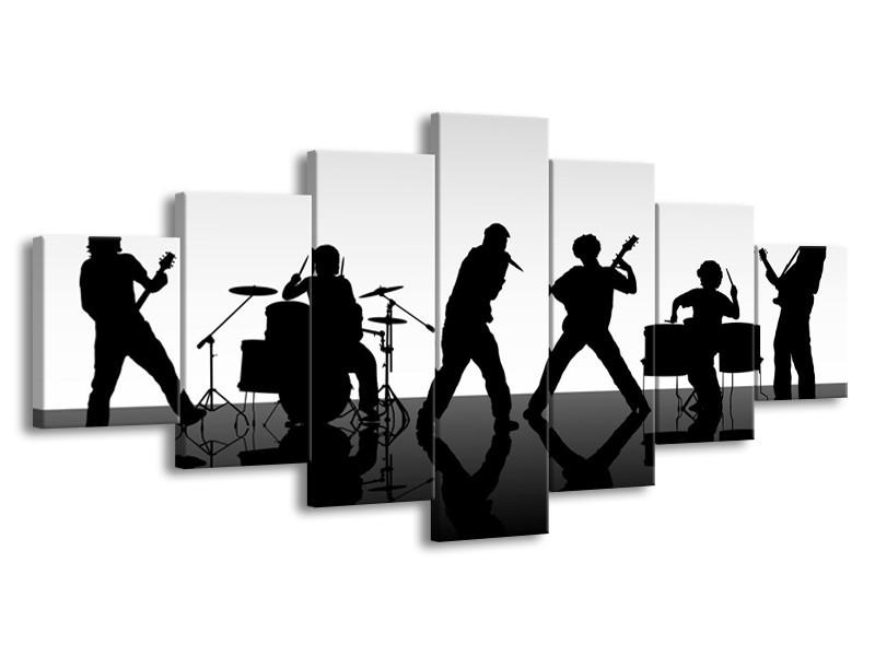 Glas schilderij Muziek | Zwart, Grijs, Wit | 210x100cm 7Luik
