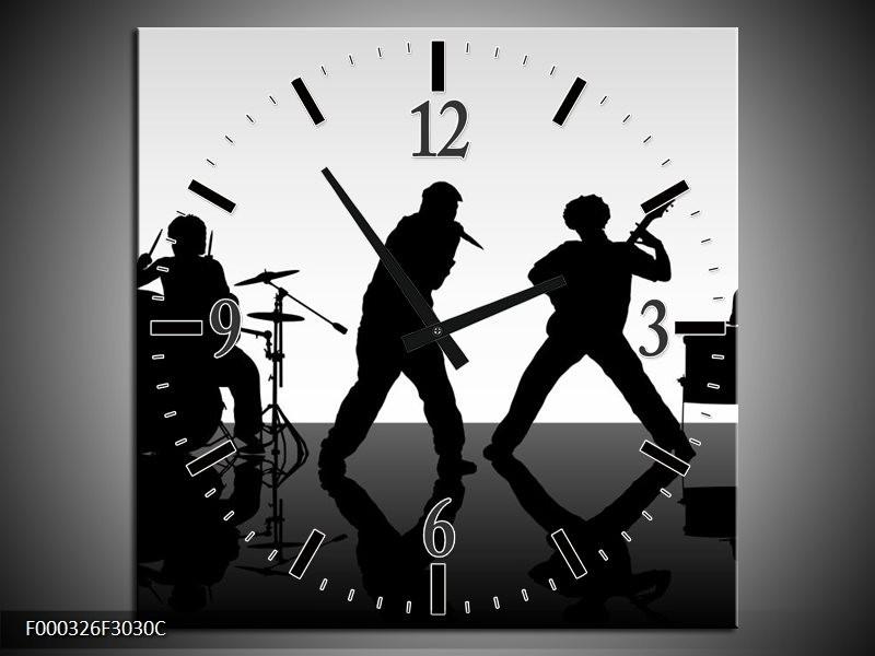 Klok schilderij Muziek | Zwart, Grijs, Wit | 30x30cm 1Luik