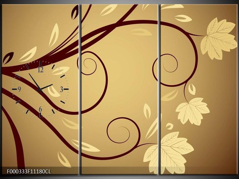 Klok schilderij Abstract   Bruin, Crème, Wit   111x80cm 3Luik