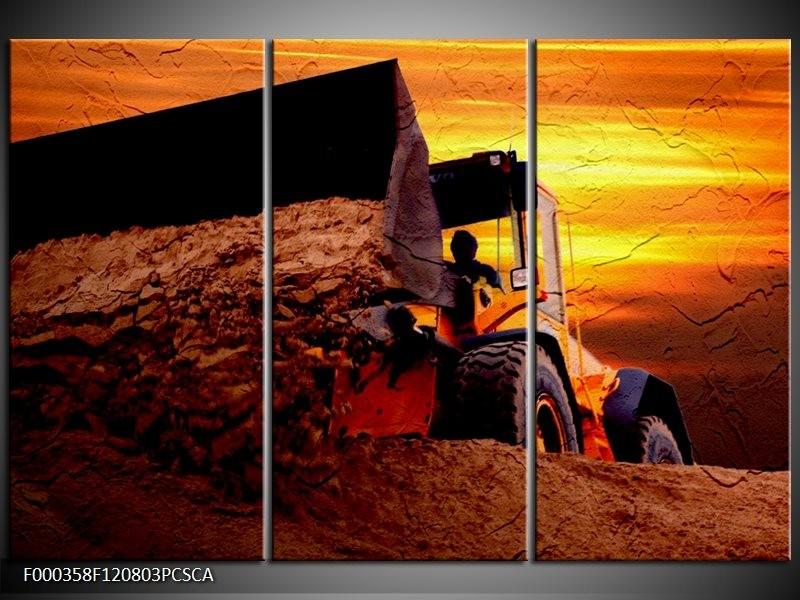 Canvas ART schilderij Tractor | Bruin, Geel, Oranje | 120x80cm 3Luik