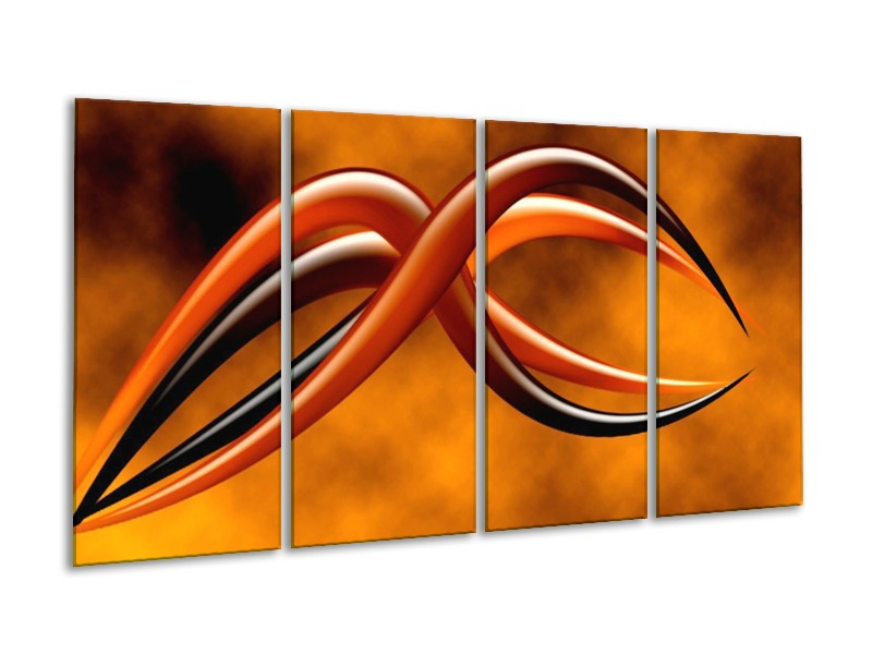 Glas schilderij Abstract | Bruin, Geel, Zwart | 160x80cm 4Luik