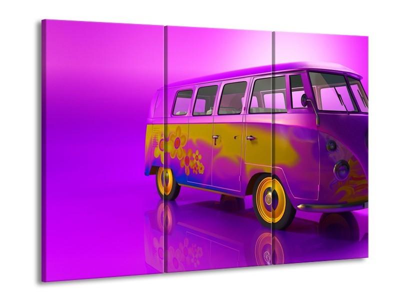 Canvas schilderij Auto | Paars, Geel, Zwart | 90x60cm 3Luik