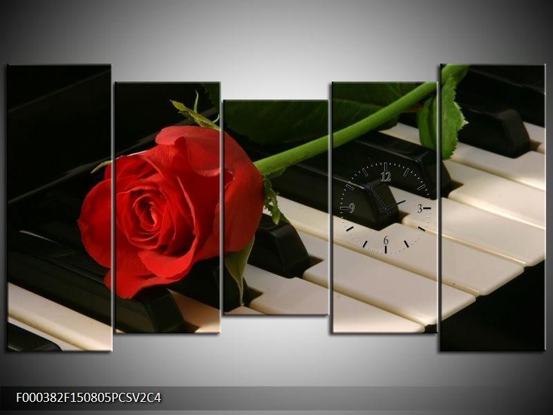 Klok schilderij Roos | Rood, Rood, Zwart | 150x80cm 5Luik