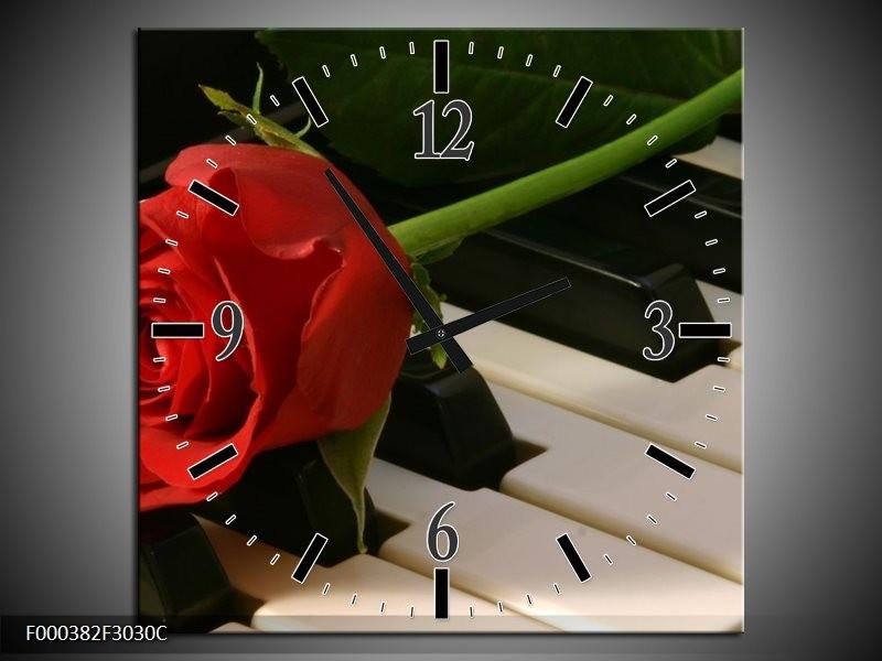 Klok schilderij Roos | Rood, Rood, Zwart | 30x30cm 1Luik