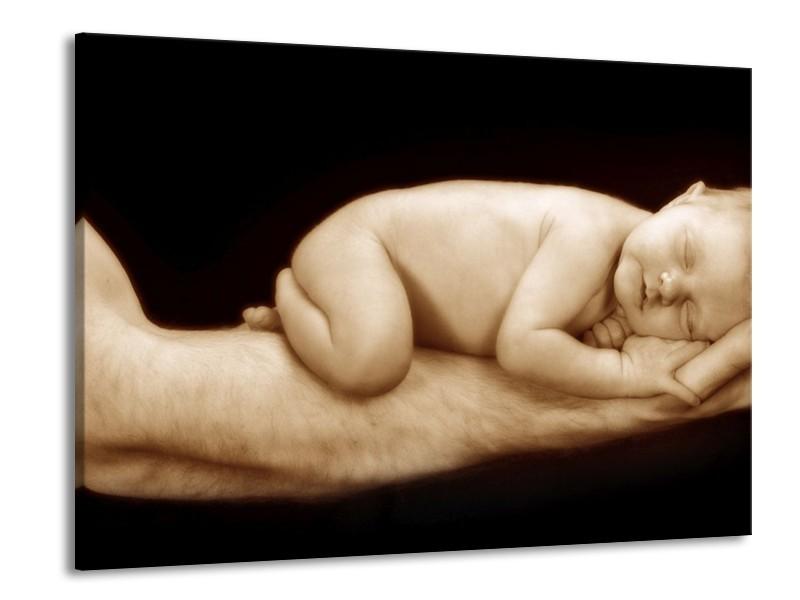 Canvas schilderij Baby | Bruin, Zwart, Crème | 100x70cm 1Luik