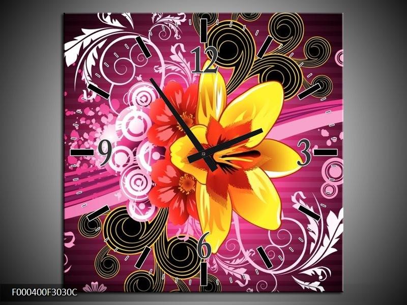 Klok schilderij Abstract   Paars, Geel, Wit   30x30cm 1Luik