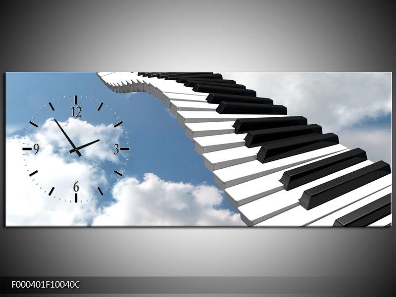 Klok schilderij Muziek | Blauw, Wit, Zwart | 100x40cm 1Luik
