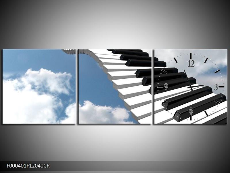 Klok schilderij Muziek | Blauw, Wit, Zwart | 120x40cm 3Luik