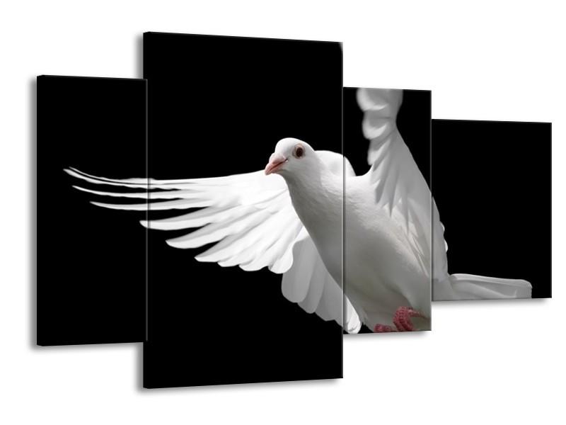 Glas schilderij Vogel | Wit, Zwart, Grijs | 120x75cm 4Luik