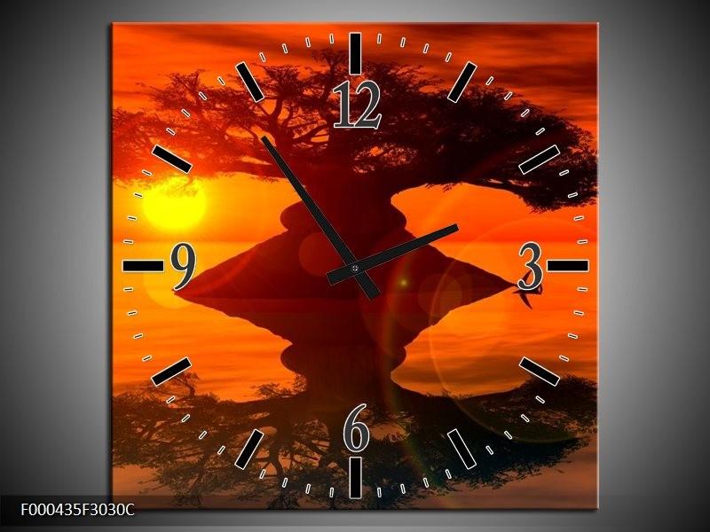 Klok schilderij Spiegeling   Oranje, Geel, Bruin   30x30cm 1Luik