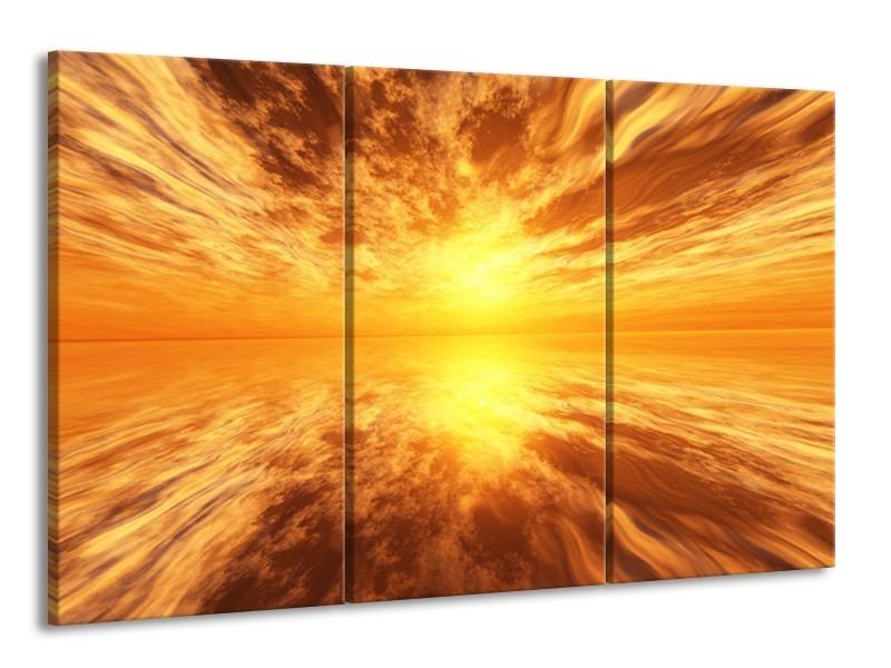 Glas schilderij Zonsondergang | Geel, Bruin, Grijs | 165x100cm 3Luik
