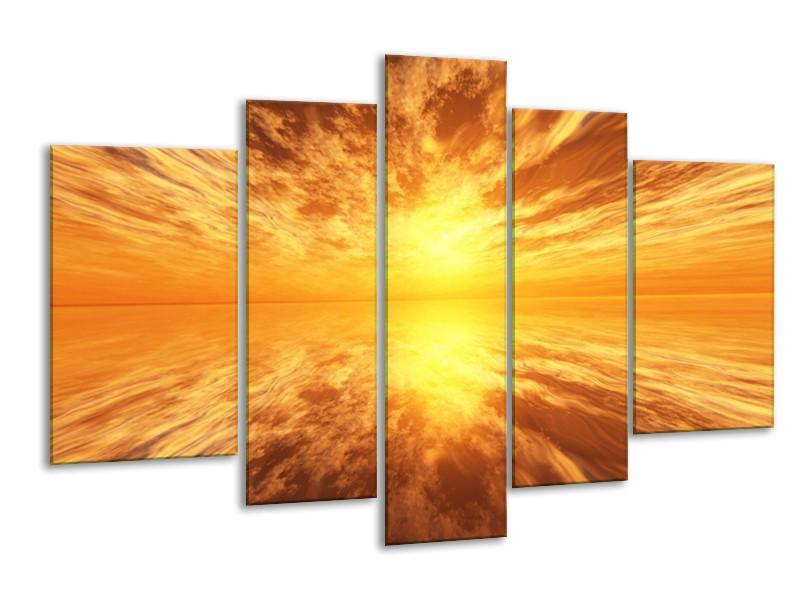 Glas schilderij Zonsondergang | Geel, Bruin, Grijs | 170x100cm 5Luik