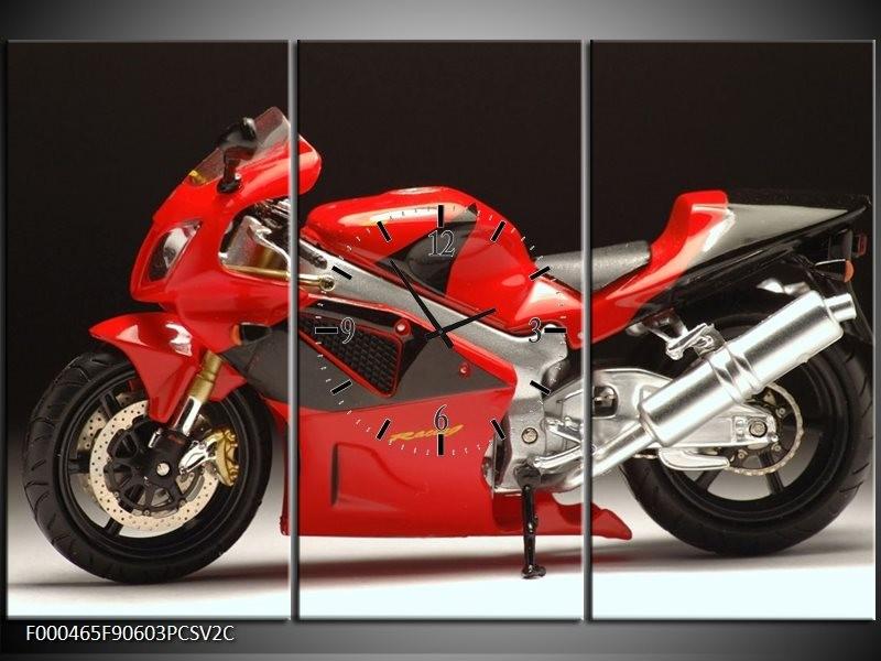 Klok schilderij Motor   Rood, Zwart, Zilver   90x60cm 3Luik