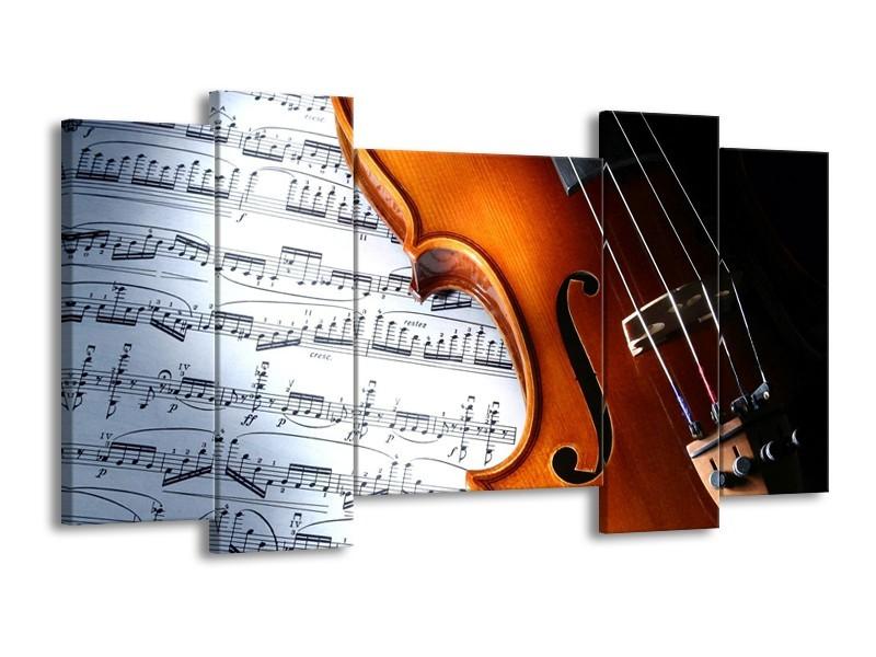 Glas schilderij Muziek | Wit, Bruin, Zwart | 120x65cm 5Luik