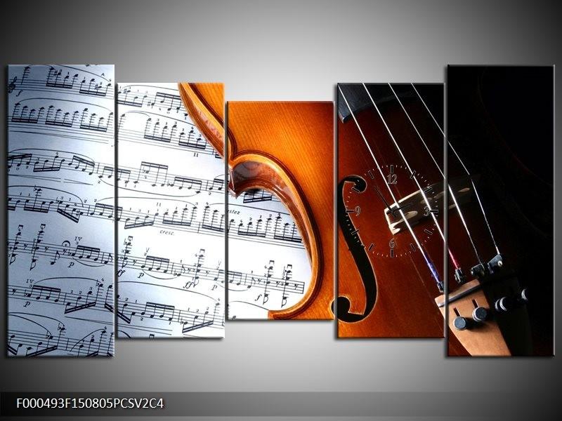 Klok schilderij Muziek | Wit, Bruin, Zwart | 150x80cm 5Luik