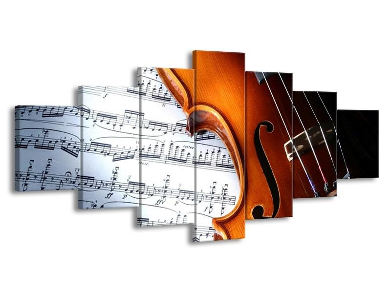 Glas schilderij Muziek | Wit, Bruin, Zwart | 210x100cm 7Luik