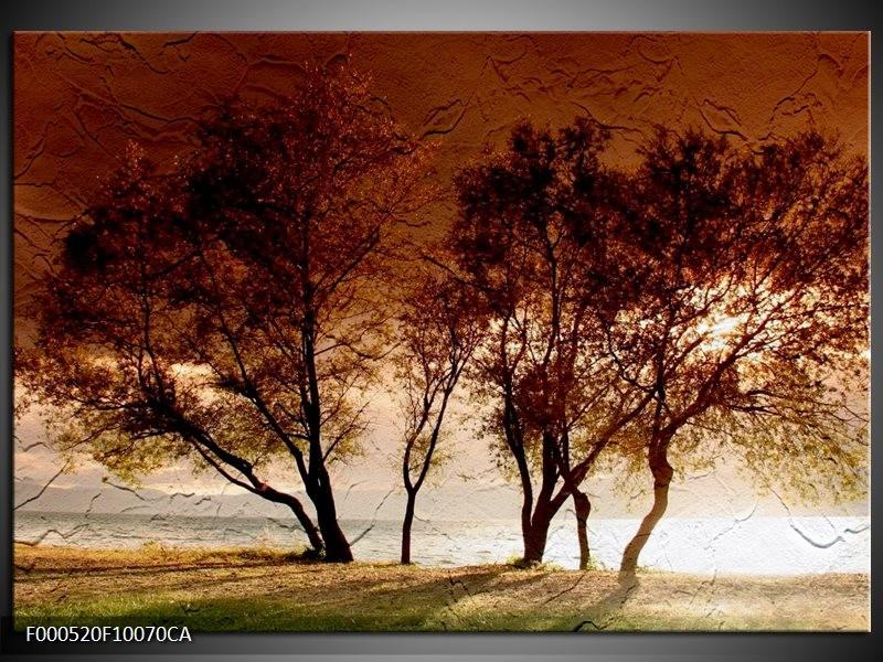 Canvas ART schilderij Bomen | Bruin, Wit, Zwart | 100x70cm 5Luik
