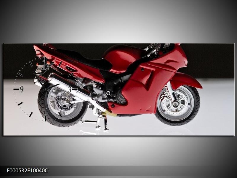 Klok schilderij Motor | Rood, Zwart, Wit | 100x40cm 1Luik