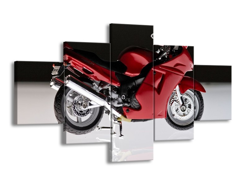 Glas schilderij Motor   Rood, Zwart, Wit   125x70cm 5Luik