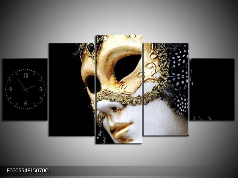 Klok schilderij Masker | Wit, Goud, Zwart | 150x70cm 5Luik