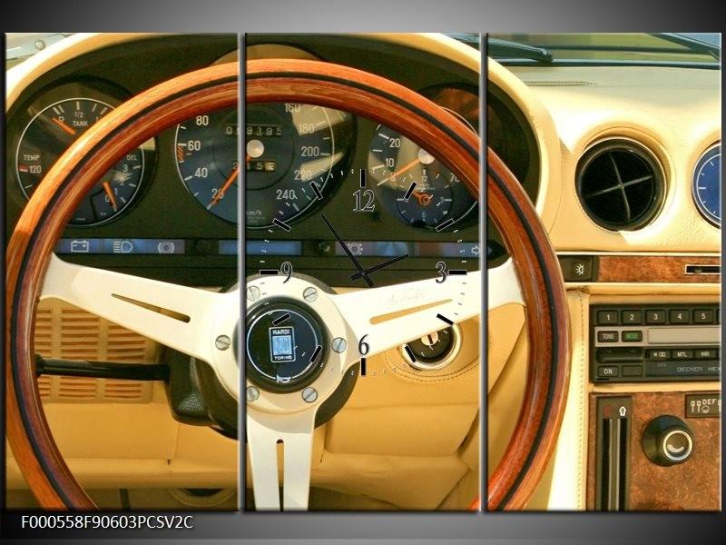 Klok schilderij Auto   Geel, Bruin, Zwart   90x60cm 3Luik
