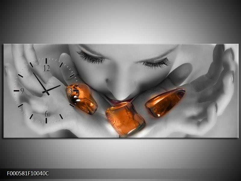 Klok schilderij Stenen | Oranje, Grijs, Wit | 100x40cm 1Luik