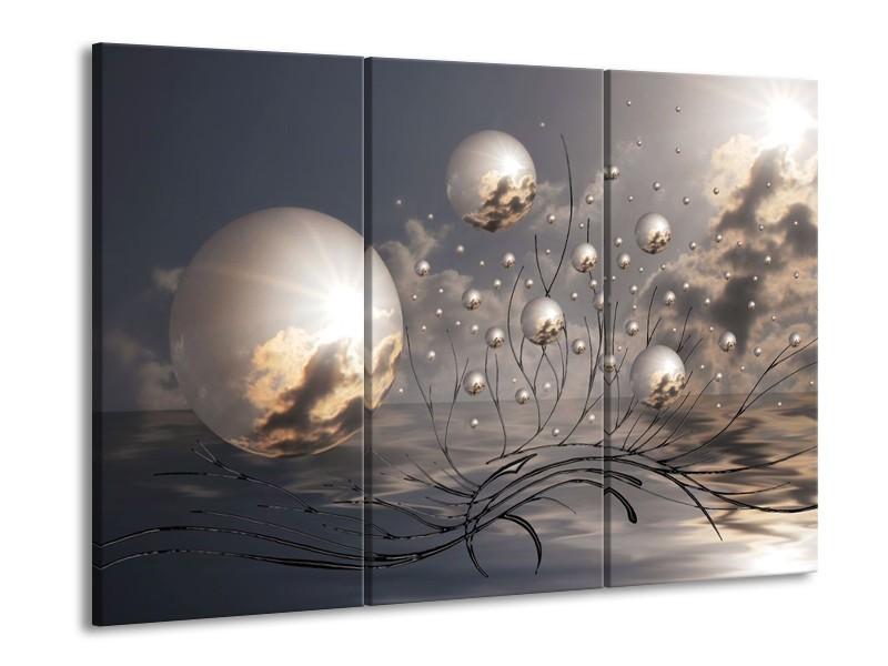 Glas schilderij Ballen | Grijs, Wit, Zwart | 90x60cm 3Luik