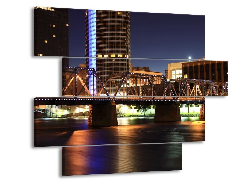 Canvas schilderij Stad | Zwart, Blauw, Crème | 115x85cm 4Luik