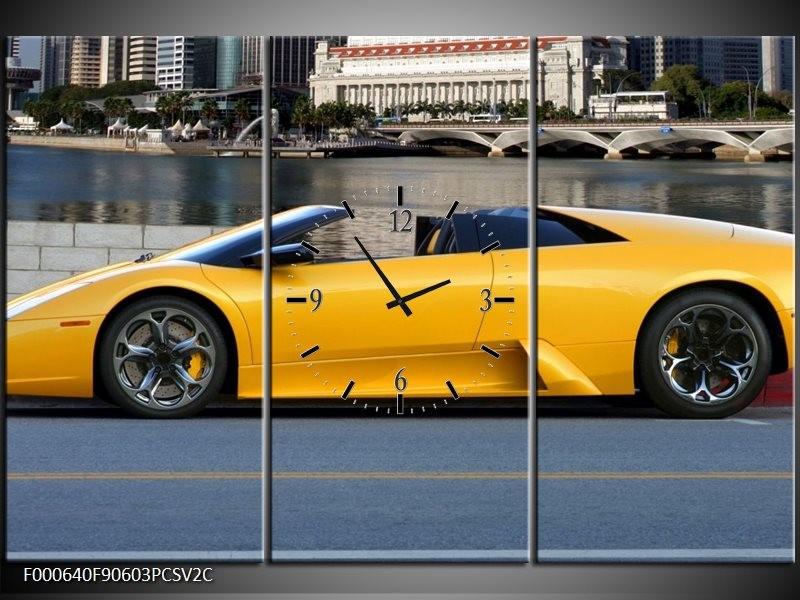 Klok schilderij Auto   Geel, Blauw,   90x60cm 3Luik
