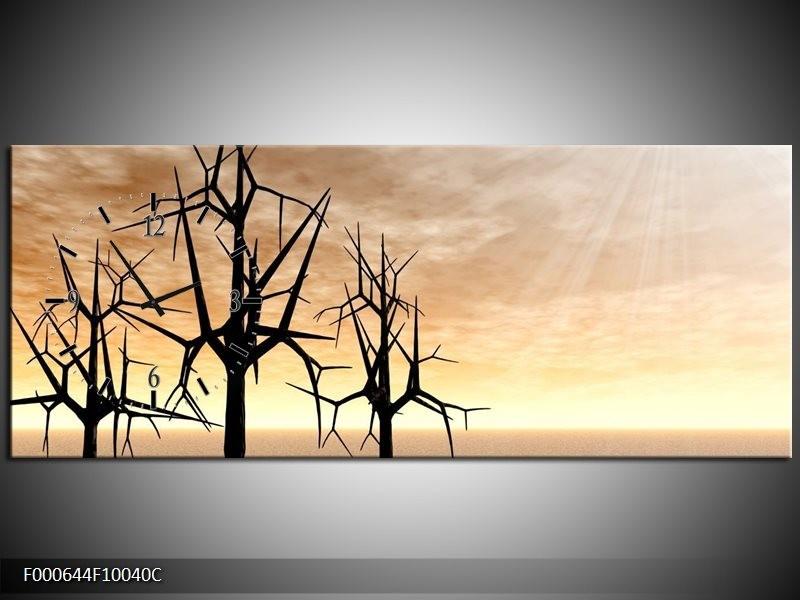 Klok schilderij Bomen | Zwart, Geel | 100x40cm 1Luik