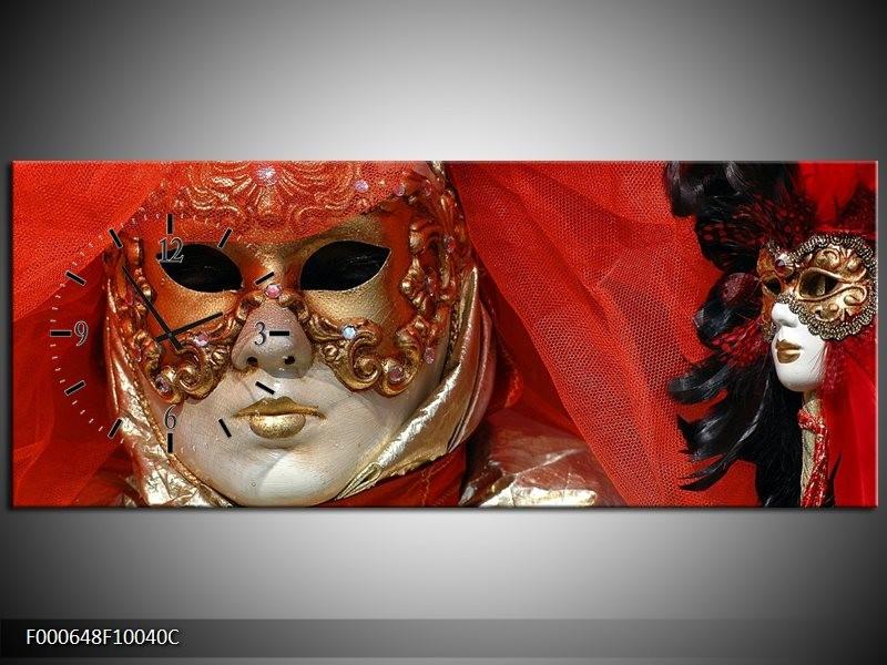 Klok schilderij Masker   Rood, Goud, Zwart   100x40cm 1Luik