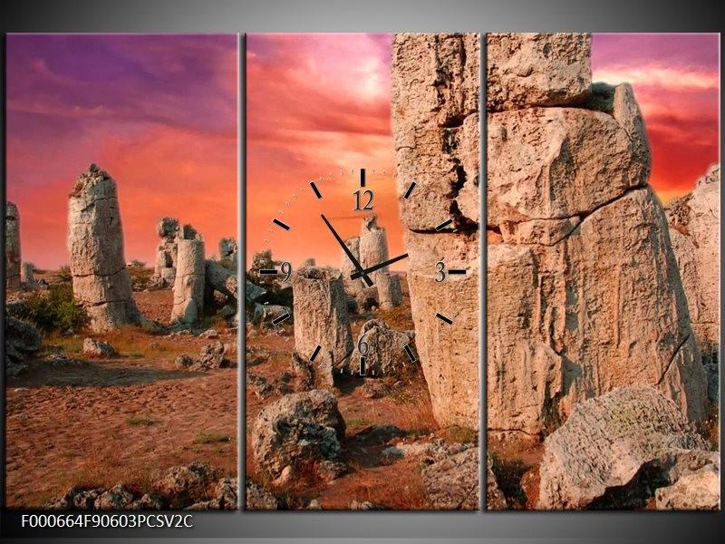 Klok schilderij Stenen | Bruin, Paars, Geel | 90x60cm 3Luik
