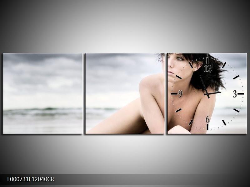Klok schilderij Vrouw | Wit, Blauw, Grijs | 120x40cm 3Luik
