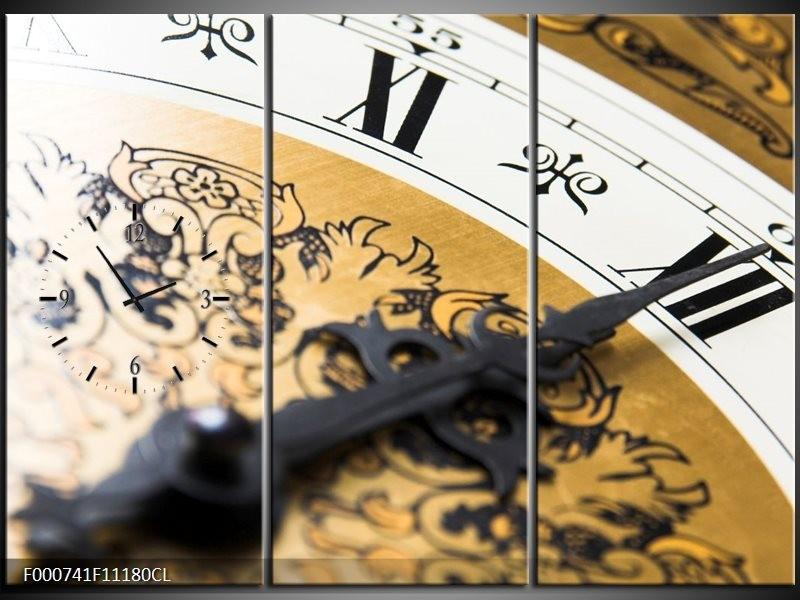Klok schilderij Klok | Bruin, Goud, Wit | 111x80cm 3Luik
