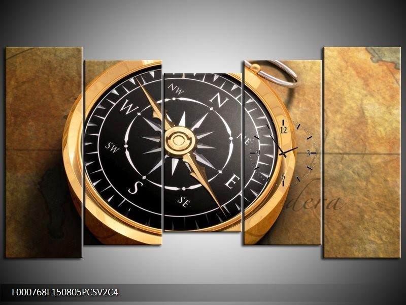 Klok schilderij Klok | Goud, Zwart, Geel | 150x80cm 5Luik