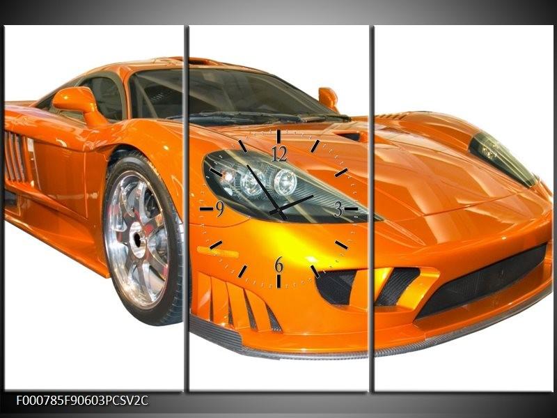 Klok schilderij Auto   Geel, Oranje, Wit   90x60cm 3Luik
