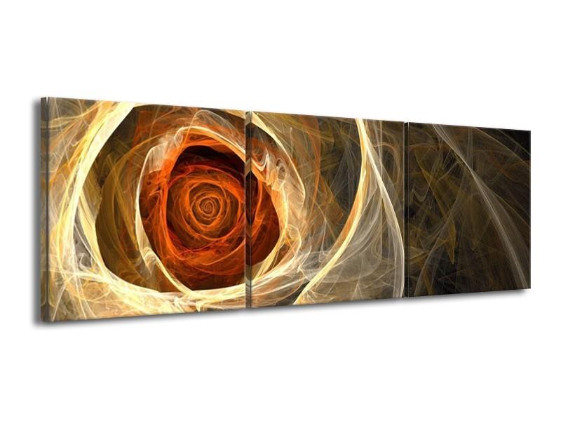 Canvas schilderij Roos | Geel, Oranje, Bruin | 150x50cm 3Luik