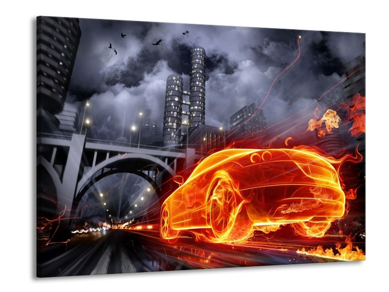 Canvas schilderij Auto | Rood, Oranje, Zwart | 100x70cm 1Luik