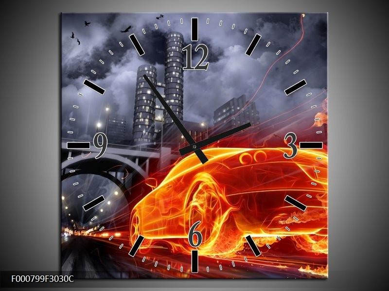 Klok schilderij Auto | Rood, Oranje, Zwart | 30x30cm 1Luik