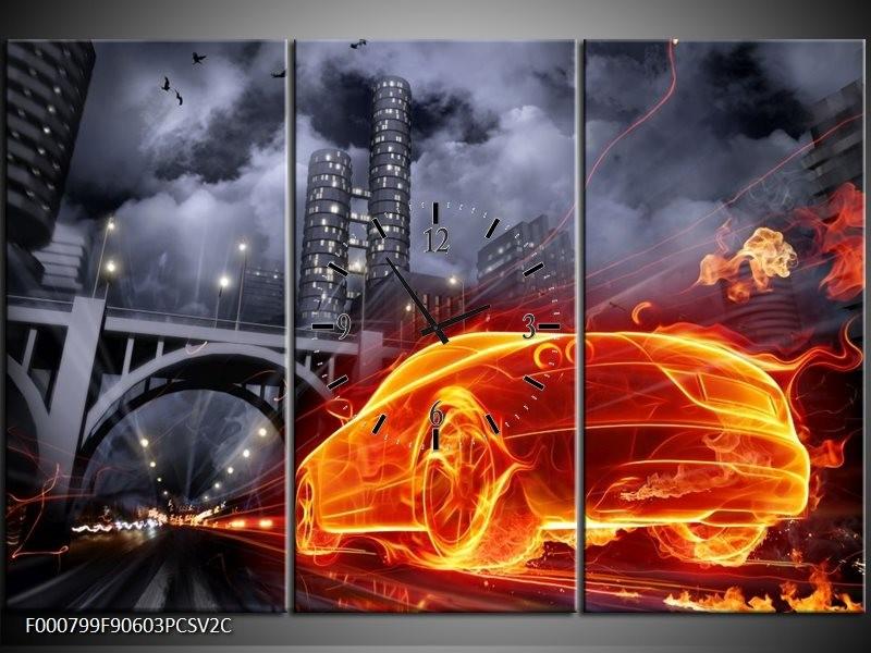 Klok schilderij Auto   Rood, Oranje, Zwart   90x60cm 3Luik