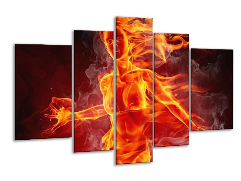 Glas schilderij Vrouw   Rood, Oranje, Zwart   170x100cm 5Luik