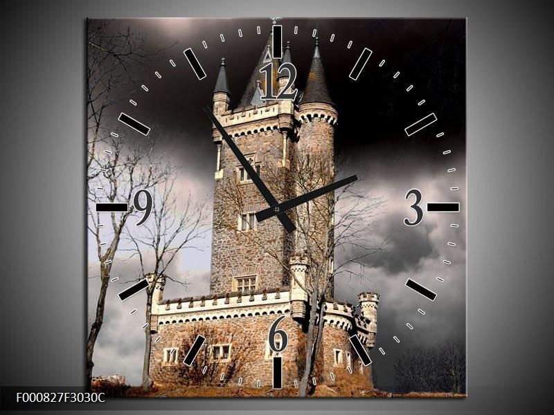 Klok schilderij Kasteel | Grijs, Zwart, Wit | 30x30cm 1Luik