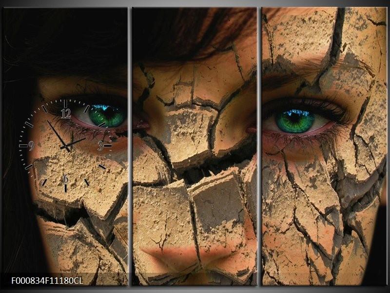 Klok schilderij Gezicht   Bruin, Groen, Zwart   111x80cm 3Luik