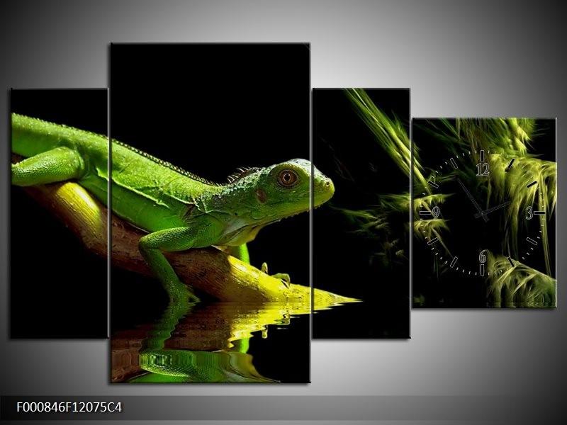 Klok schilderij Leguaan   Groen, Zwart, Geel   120x75cm 4Luik