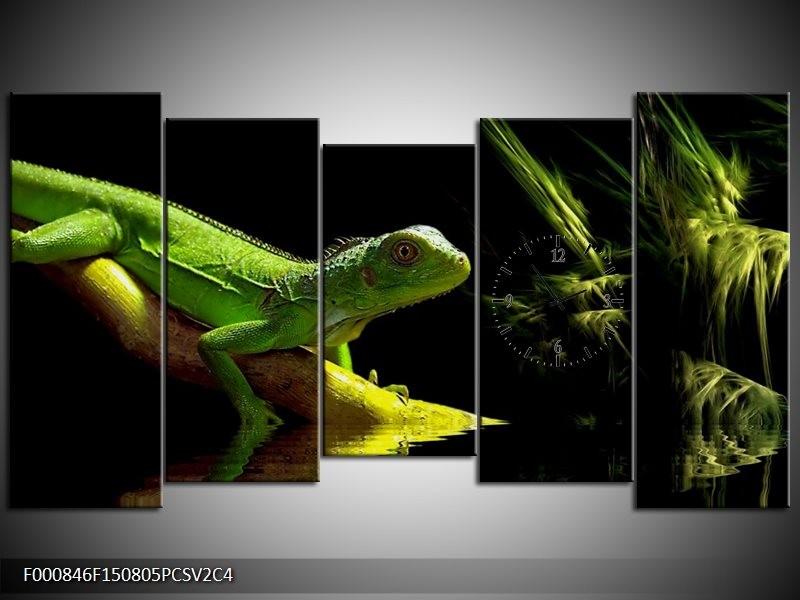 Klok schilderij Leguaan | Groen, Zwart, Geel | 150x80cm 5Luik