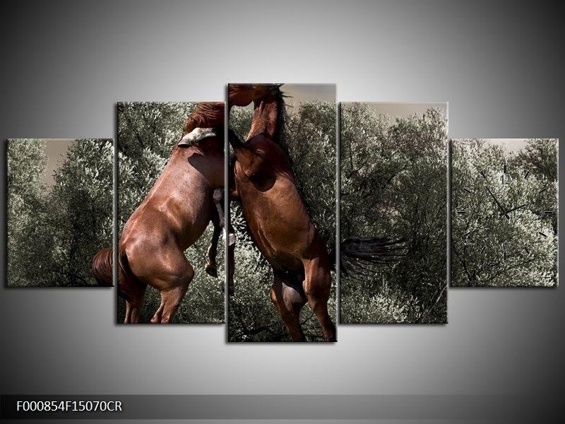 Klok schilderij Paarden | Bruin, Grijs | 150x70cm 5Luik