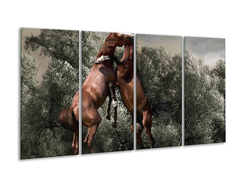 Canvas schilderij Paarden   Bruin, Grijs   160x80cm 4Luik